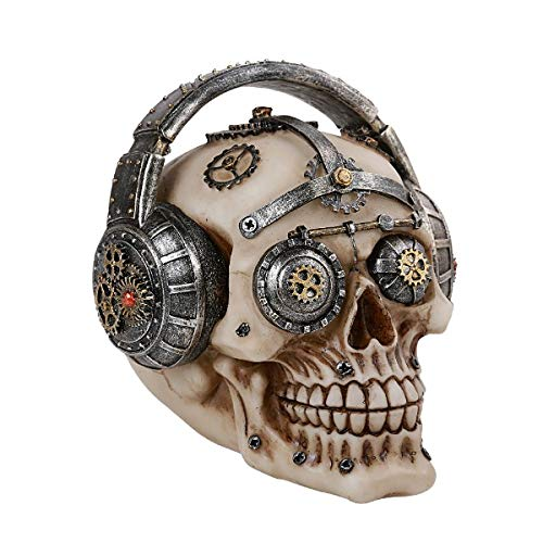 Pacific Giftware Steampunk Gear Skull with Headphones Home Tabletop Decorative Resin Figurine