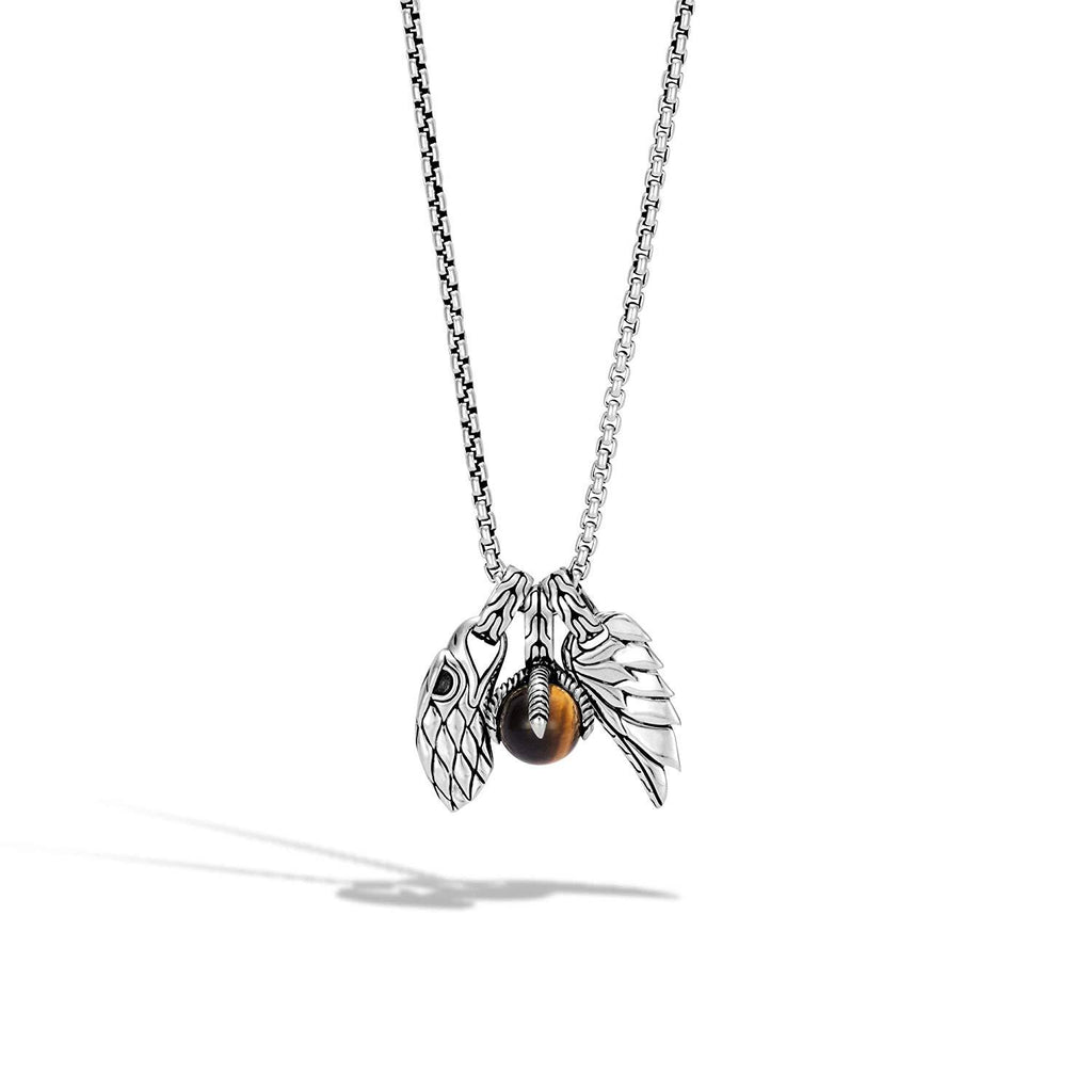 John Hardy Men's Legends Eagle Silver Amulet Pendant- on 2.6mm Box Chain Necklace with Tiger Eye, Size 26