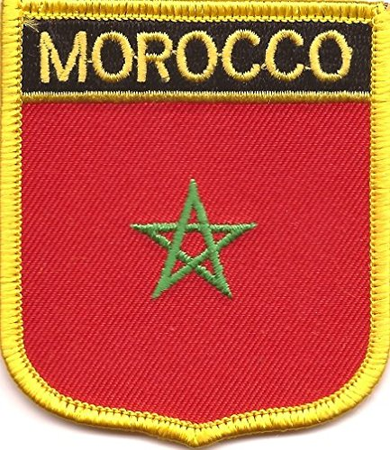 "Morocco Flag Shield Patch / International Iron-On (""2.75"" x 2.35"")"