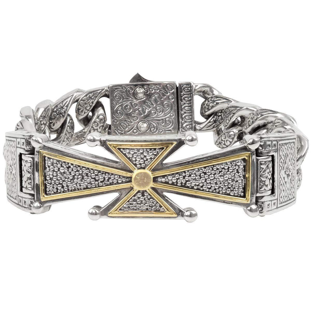 Konstantino Stavros Maltese Cross Mens Bracelet In Silver And 18K Gold
