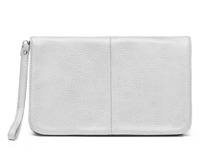 flap clutch-brushed silver