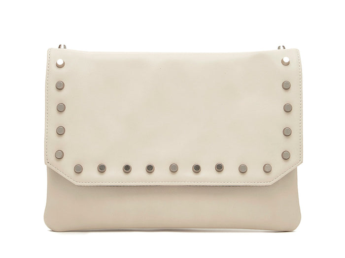flap Clutch-off white w/silver stud