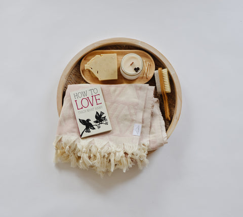 Bath Tray with a Towel, Candle, Soap and book