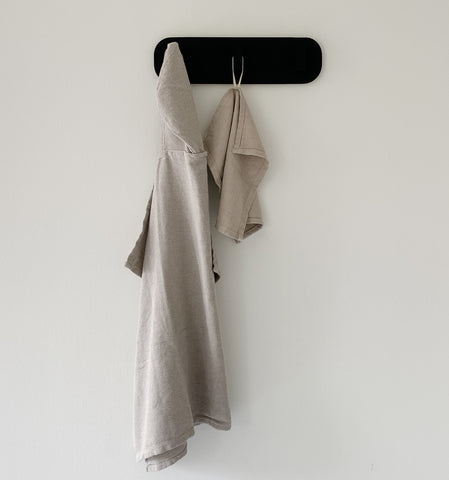 Turkish Hooded Baby Towel and Wash Cloth hanging