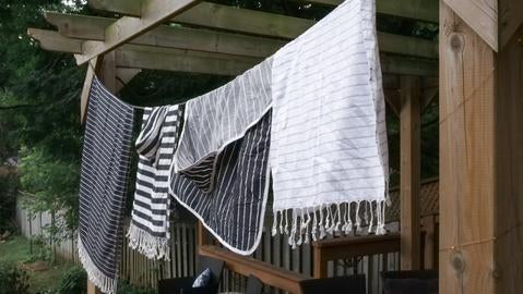 Turkish Towels line drying outside
