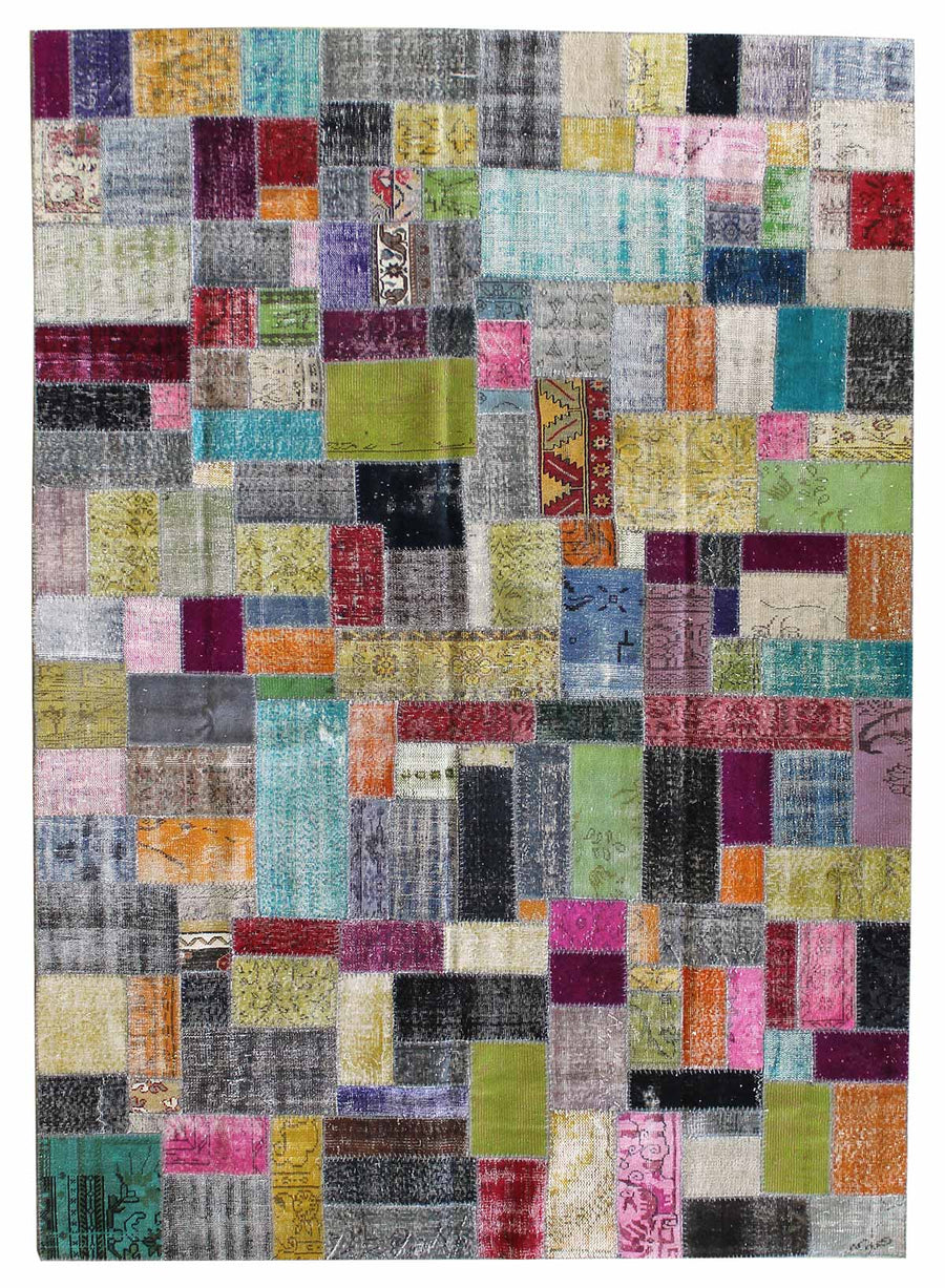 PATCHWORK HANDKNOTTED RUG, J45868