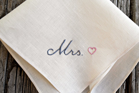 Cream linen hankie hand embroidered with Mrs. and a pink heart