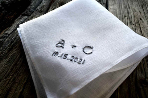 Hand embroidered Irish linen pocket square with initials g. w.