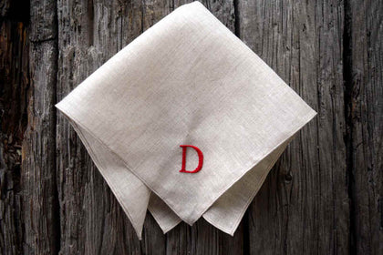 Irish linen handkerchief embroidered with green initials and wedding date