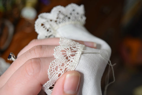 handmade bobbin lace and handkerchief