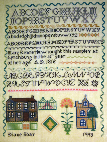 Replica of cross stitch sampler worked in 1812