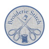 Round seal in blue and white, with crossed embroidery scissors over a spool of thread, surmounted by a thimble and the name Broiderie Stitch