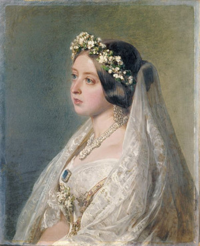 Portrait of Queen Victoria in Bridal Lace
