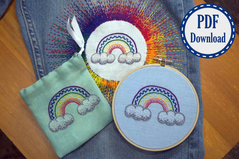 Three finished hand embroidered rainbows - one one a bag, one in an embroidery hoop, and one appliqued on a pair of jeans - as finished products of a digital tutorial