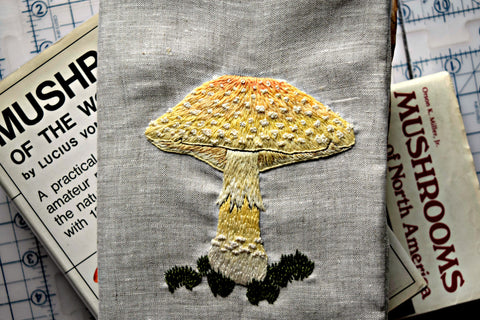yellow poisonous mushroom embroidery