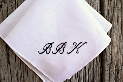 White handkerchief with initials B B K