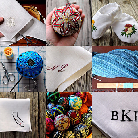 collage of embroidery images featuring temari and handkerchiefs