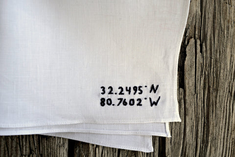 Handkerchief with GPS coordinates parallel to hem