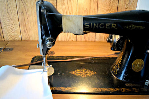 Antique sewing machine and handkerchief