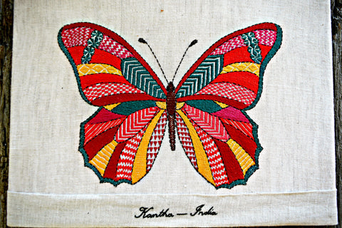 Embroidered butterfly worked in bright colors and kantha embroidery