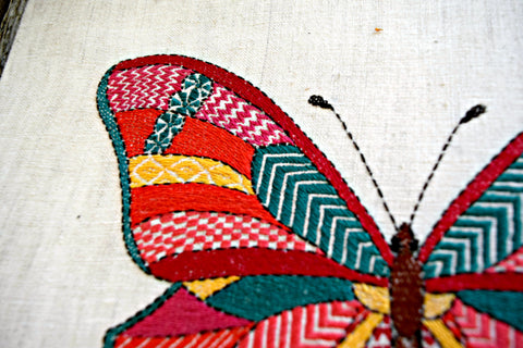 Close up of embroidered butterfly
