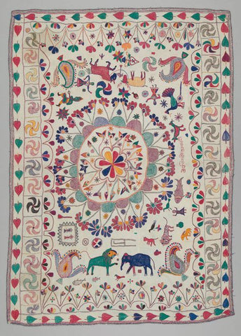 traditional kantha quilt heavily embroidered with scenes of life