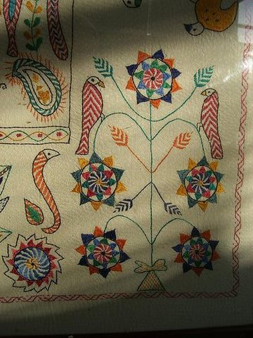 birds worked in kantha embroidery