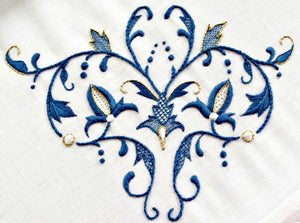 Renaissance era embroidery design in blue and gold