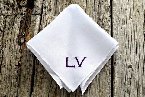 Handkerchief with purple initials LV
