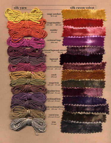 Natural dye chart with rainbow of hues