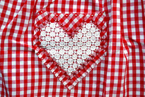 Red gingham apron with chickenscratch heart