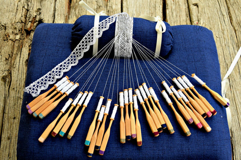 Lacemaking pillow and bobbins