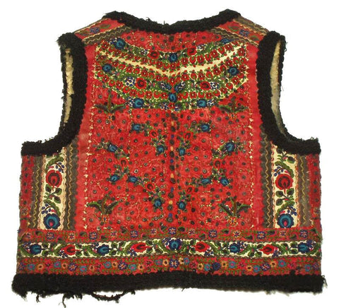 Romanian embroidered vest in red with blue and black