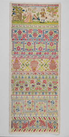 Colorful blackwork embroidered sampler from 1656 worked by Anna Buckett aged 12