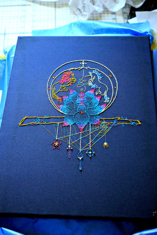 Embroidered talisman 'Journey' on navy fabric with metallic threads