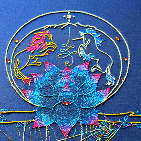 Journey Talisman hand embroidered motif with lion, unicorn, and lotus