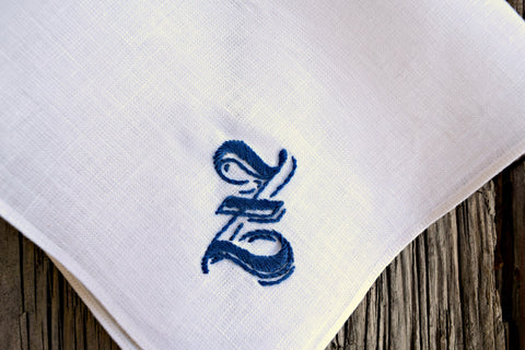 Handkerchief with ornate gothic Z in blue