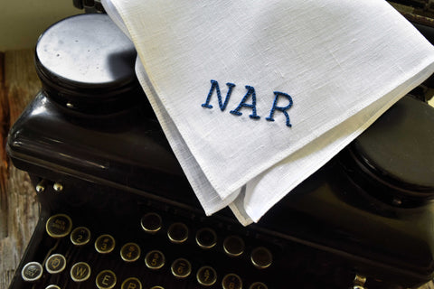 Monogrammed White Linen Pocket Square with Three Initials : Typewriter