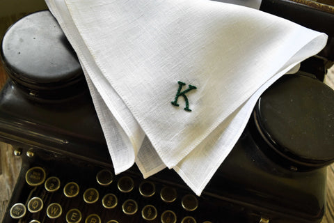Monogrammed Irish Linen Handkerchief with Initial: Typewriter