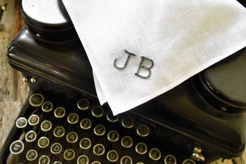 Monogrammed White Linen Pocket Square with Two Initials : Typewriter