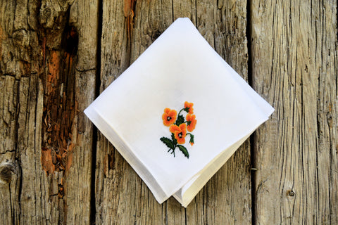 Posy of Pansies Hand Embroidered Floral Linen Hankerchief