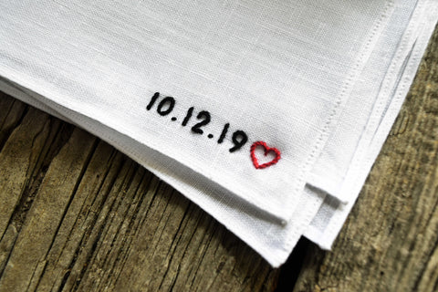 Wedding Date And Heart Hand Stitched Linen Handkerchief : Bottom Corner