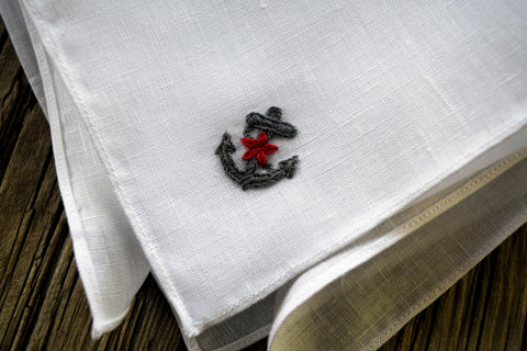 Anchors Aweigh Nautical Linen Pocket Square