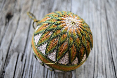 Japanese embroidered temari ball in olive tones