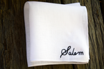 Hand embroidered pocket square with name 'Salem' hand embroidered in cursive