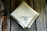 Oatmeal linen pocket square with initials and date