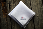 White Irish linen handkerchief hand embroidered with 'J (heart) D, 7.24.2020' in one corner, in red and grey