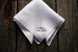 Irish linen handkerchief in white with initials and date