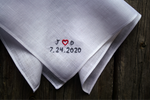 White Irish linen handkerchief embroidered with initials and wedding date in sweetheart design