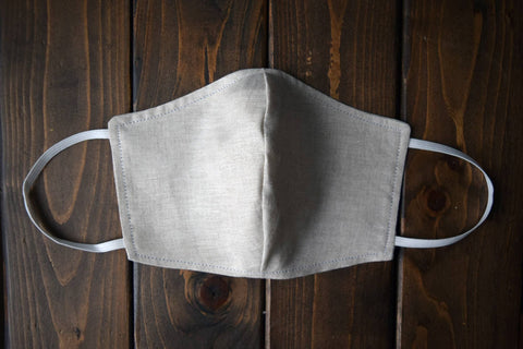 Oatmeal linen shaped face mask with elastic ear loops